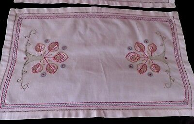 """PAIR of VINTAGE HAND EMBROIDERED TRAY CLOTHS - 21"""" by 13"""""""