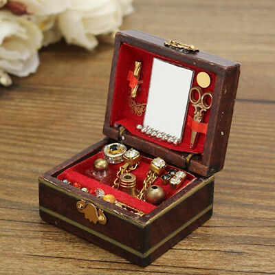 Miniature Jewelry Box Doll Room Decoration House Accessory For 1/12 Dollhouse