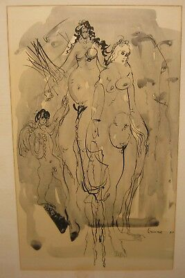 Original 1953 ANTHONY TRIANO Mid Century Modern SURREAL Abstract NUDE PAINTING
