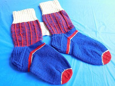 Antique Vintage Hand-Made Home-made Knit SOCKS STOCKINGS - Red & Blue