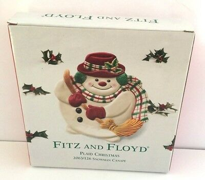 Fitz and Floyd Essentials Plaid Christmas Snowman Canape Plate Hand Crafted NEW