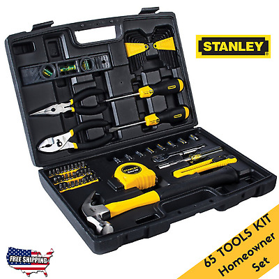 Homeowner Tool Set Box Emergency 65 Pcs Kit Hand Mechanic Home Emergency Stanley