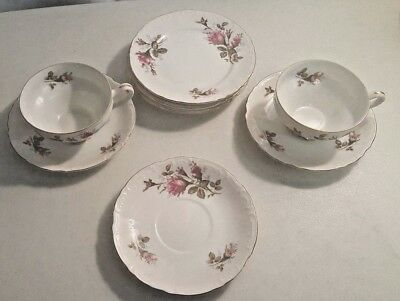 Royal Rose Fine China,Of Japan ,4 Cake Plates ,3 Saucers And 2 Cups GOLD TRIM