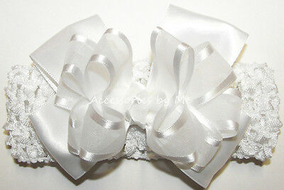 Baptism Headband White Bow Organza Satin Baby Infant Christening Party Hair Band