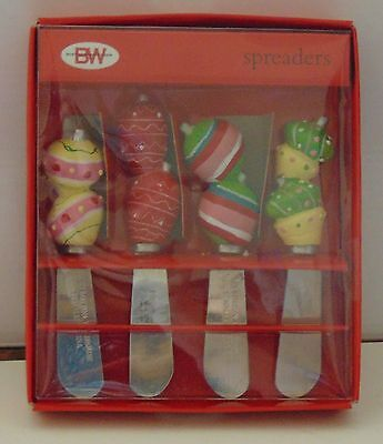 Boston Warehouse Spreaders Holiday Ornaments Set of four cheese butter Christmas