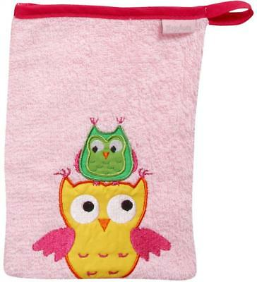Playshoes 340089 Waschhandschuh Eule, rosa