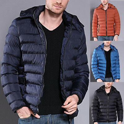 Men Packable Hoodie Down Jacket Winter Warm Hooded Puffer Outerwear Coat Jacket
