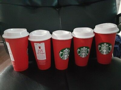 Starbucks Red Reusable Holiday Cup 2018 Limited Edition 50c Lot Of 5 NEW