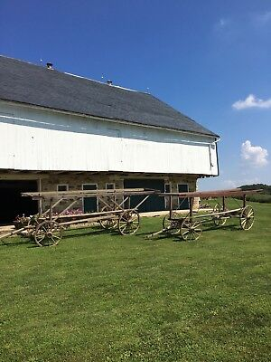 19th Century Antique Spoked Wooden Wheel Tobacco Harvest Wagons!