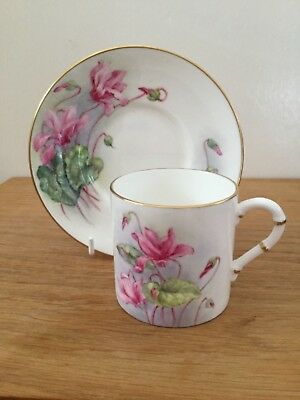 Royal Worcester Cyclamen Coffee Cup & Saucer Hand Painted & Signed by D Rea