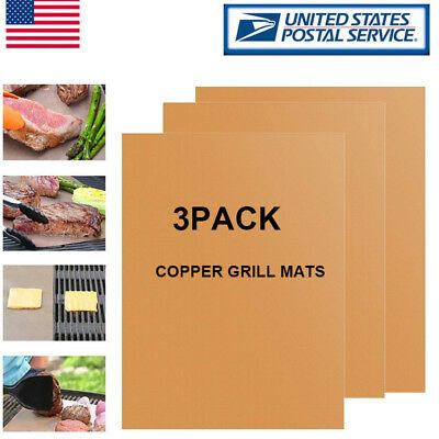 3PCS Copper Grill Mats Set BBQ Cooking Non Stick Pad Barbecue Mat Bake by Gas