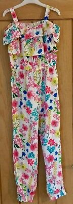 Monsoon Girls Pretty Pink Floral Jumpsuit Playsuit Size 9 Years New