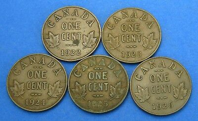 (5) George V One Cent Canadian Coin Lot 1922 1923 1924 1925 1926 Full Crown