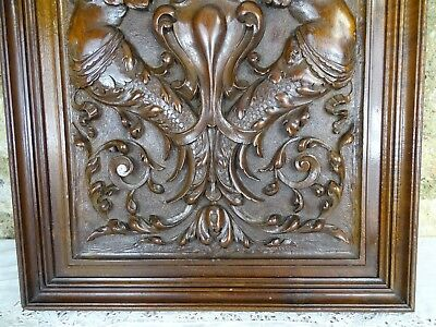 Antique French Superb Hand Carved Wood Solid Walnut Panel Door - Two Caryatyd