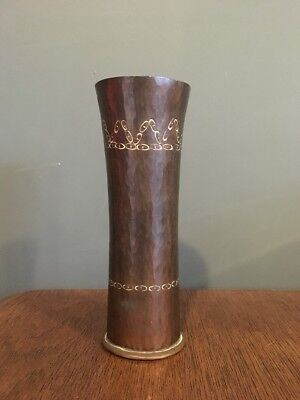 Vintage Arts & Crafts Hammered Copper Metal Vase 7 inches high x 2.5inch VGC