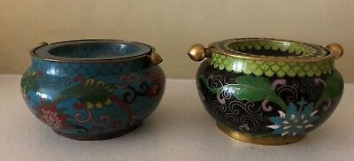 Two Antique Chinese Cloisonne Ash Containers