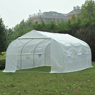 Outsunny 15'x10'x7' Garden Planting Shed Heavy Duty Walk-in Tunnel Greenhouse