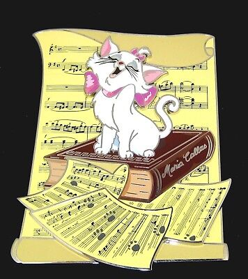 RARE LE 100 w/ COA Jumbo Disney Pin ✿ Aristocats Cat Marie Diva Sheet Music Book