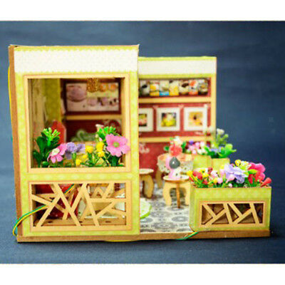 Cute DIY Wooden Miniature Modern Dessert Shop Doll House Kit Birthday Gift