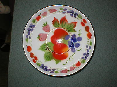 "Vintage Rustic Enamel Metal Bowl Tray Fruit Hand Painted 10 3/8"" D x 3"" Tall"
