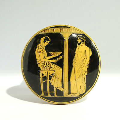 Greek Revival Yellow Ware Jar Pot Lid Oracle Priestess Pythia Delphi King Aegeus