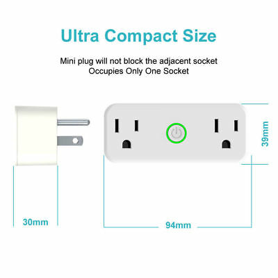Home Smart Plug Dual Outlet Switch WiFi with Amazon Alexa Google