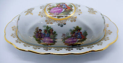 Rare Vint 1960s Bayreuth Germany LOVE STORY COVERED BUTTER DISH - Mint condition