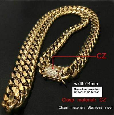 18K Gold GP Stainless Steel Miami Cuban Link Chain Necklace Diamond Clasp 14mm