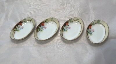 Vintage NIPPON Hand Painted 4PC Lot Porcelain China BUTTER PATS Trim Floral