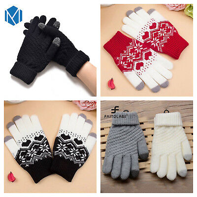Ladies touch screen gloves. High quality thick thermal knitted for phone tablet