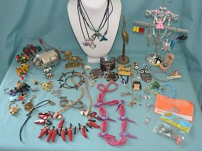 Lot Of Vintage To Now Animal Theme Jewelry, Figures & Misc. Items  (QH)