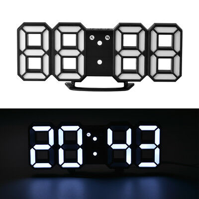3D LED Digital Alarm Clock USB Dimmable Wall Home Timer 24/12 Hour Snooze HS1001