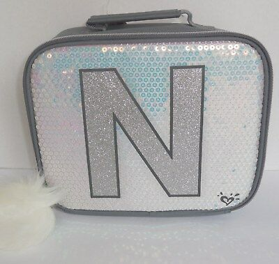 Justice Initial N Lunch Box Tote Bag Unicorn Silver New Sequins