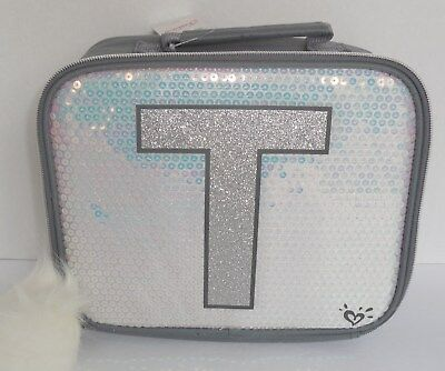 Justice Initial T Lunch Box Tote Bag Unicorn Silver New Sequins