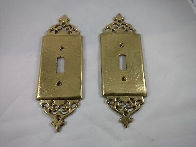 Vintage Brass Hammered Switch Plate - Single Toggle