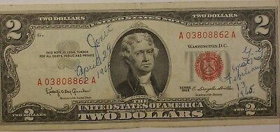 1963 Two Dollar $2 Bill Series  *Red Seal* US Currency Janet and GG Signed Note
