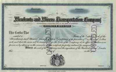 Merchants Miners Transportation 1900 Baltimore Boston blanco Certificate Nassau