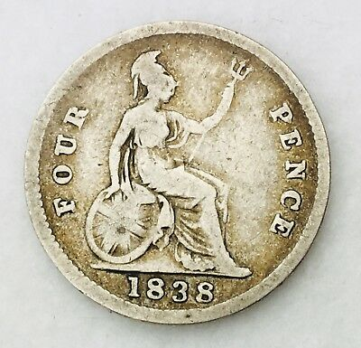 1838 United Kingdom Four Pence Groat Silver Coin Queen Victoria 0113