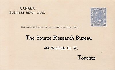 Canada Kgv Stationery 1/2 Cent Business Reply Card