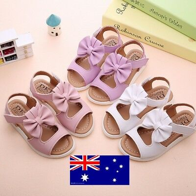 Summer Children Kids Girls Cute Bowknot Sandals Shoes Flat Princess Shoes AU