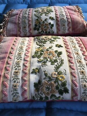 Pair Of Antique Vintage Tasseled Velvet Brocade Cushions | Bedroom | Chair