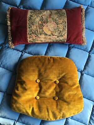 Stunning Set Of Antique Vintage Velvet Tapestry Cushions | Seat | Chair