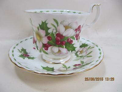 Royal Albert Bone China DECEMBER Flower of the month Teacup and Saucer Set.