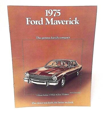 Vintage Ford Car Brochure Catalog 1975 Maverick 4-Door / 2-Door Sedan / Grabber