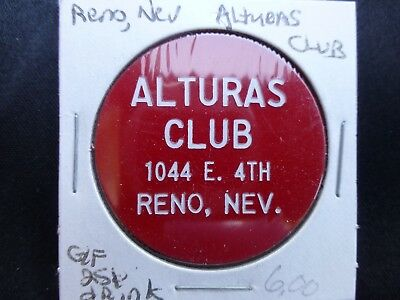 Alturas Club Reno Nevada Good For Drink Token (Rotated)