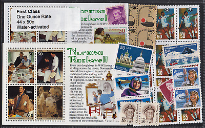 US Postage - 44 First Class water-activated (50c) stamps Below Face, Unused