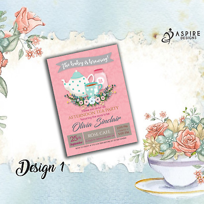 Personalised Afternoon Tea New Baby Shower Party Invitations & Thank You Cards