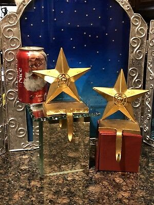 Set of 2 Christmas Stocking Holders Mantle Hangers Star Heavy Gold Color Metal
