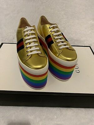 84dd05ca8f7 GUCCI PEGGY PLATFORM Sneaker Metallic Gold Leather Rainbow Wedge ...