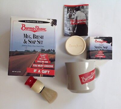 Burma Shave Gift Set, Mug, Brush, Soap Jingle Book, Collectible Shaving